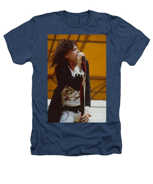 Steven Tyler Of Aerosmith At Monsters Of Rock In Oakland Ca Heathers T-Shirt by Daniel Larsen