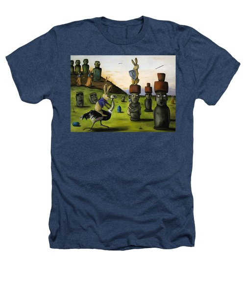 The Battle Over Easter Island Heathers T-Shirt by Leah Saulnier The Painting Maniac