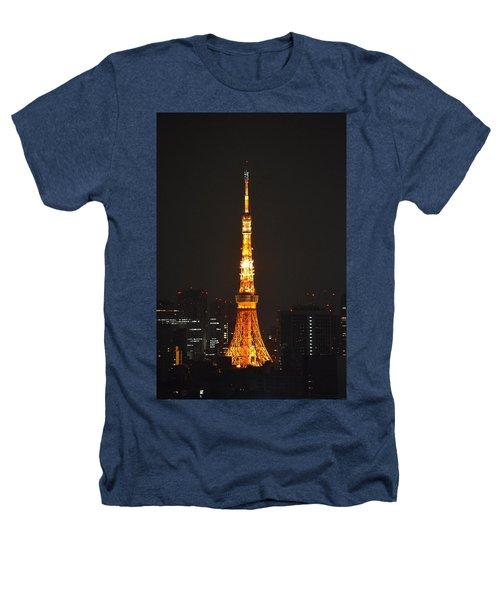 Tokyo Tower And Skyline At Night From Shinagawa Heathers T-Shirt by Jeff at JSJ Photography