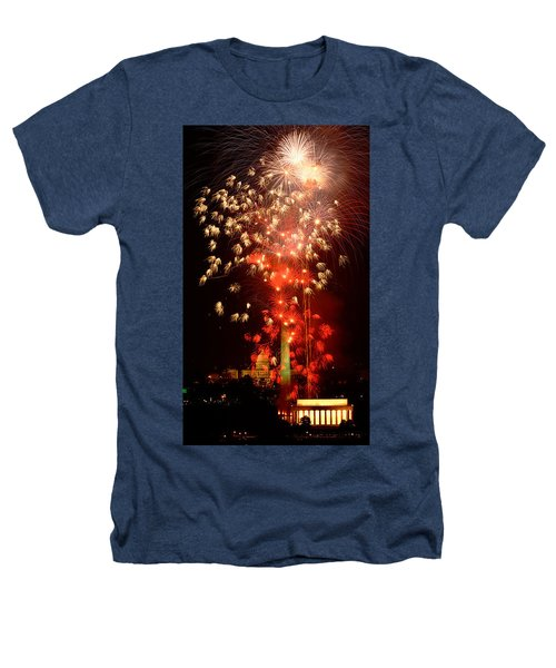 Usa, Washington Dc, Fireworks Heathers T-Shirt by Panoramic Images