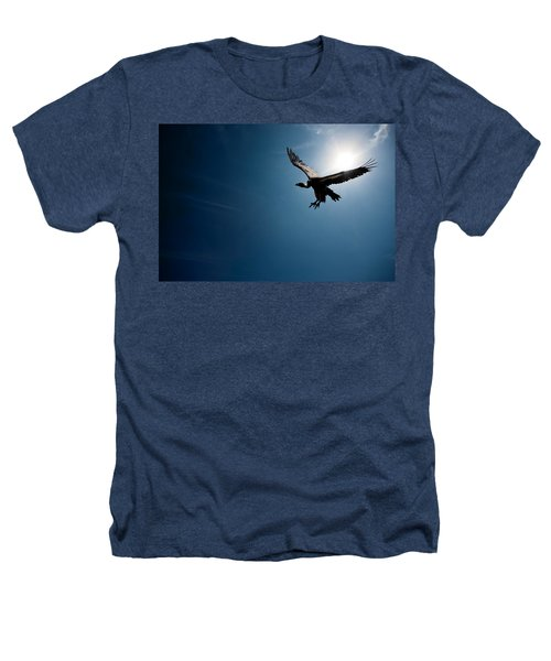 Vulture Flying In Front Of The Sun Heathers T-Shirt by Johan Swanepoel