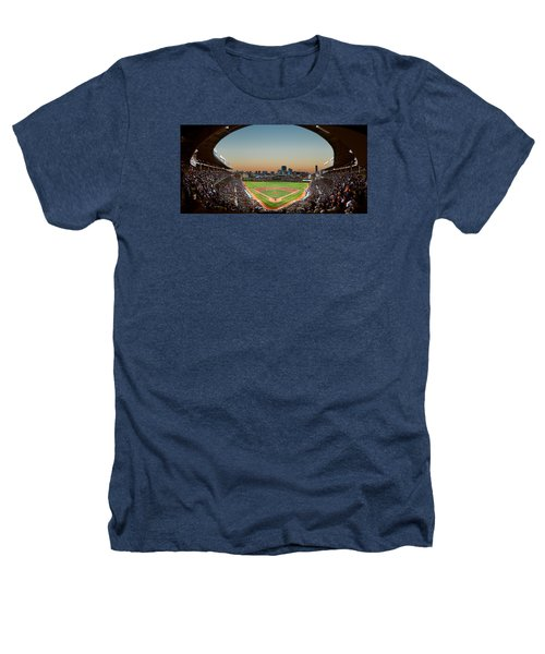 Wrigley Field Night Game Chicago Heathers T-Shirt by Steve Gadomski