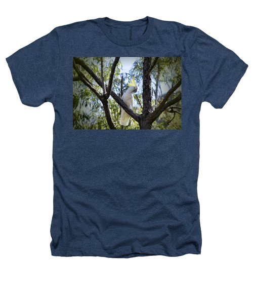 Sulphur Crested Cockatoo Heathers T-Shirt by Douglas Barnard
