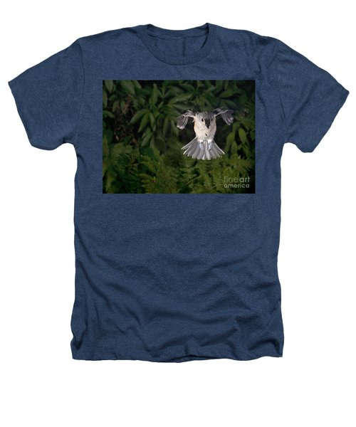 Tufted Titmouse In Flight Heathers T-Shirt by Ted Kinsman