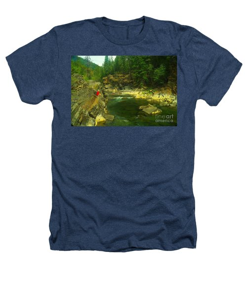 Cliff Over The Yak River Heathers T-Shirt by Jeff Swan