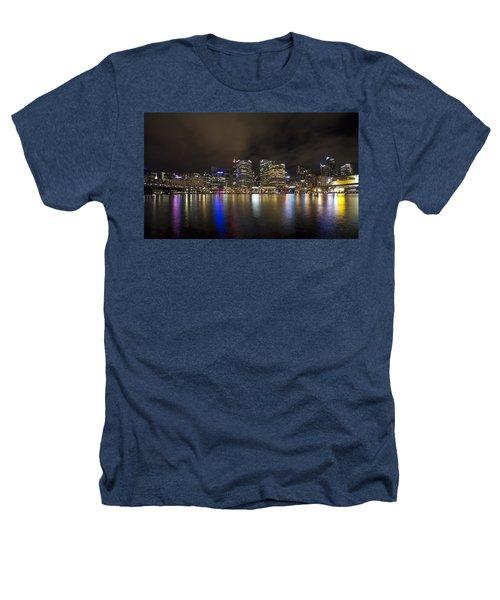 Darling Harbor Sydney Skyline Heathers T-Shirt by Douglas Barnard