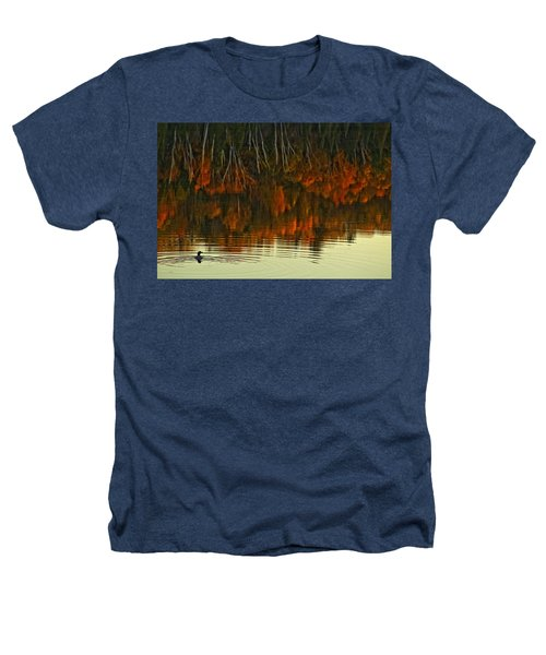Loon In Opeongo Lake With Reflection Heathers T-Shirt