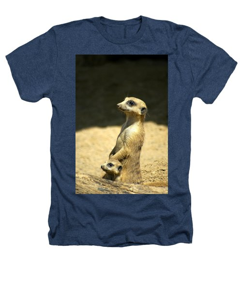 Meerkat Mother And Baby Heathers T-Shirt
