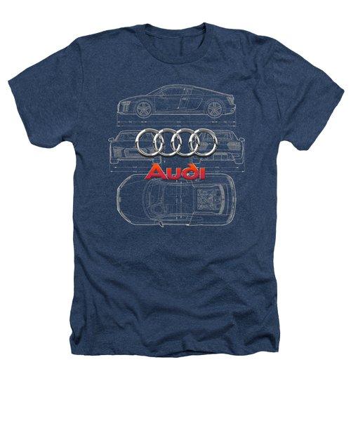 Audi 3 D Badge Over 2016 Audi R 8 Blueprint Heathers T-Shirt by Serge Averbukh