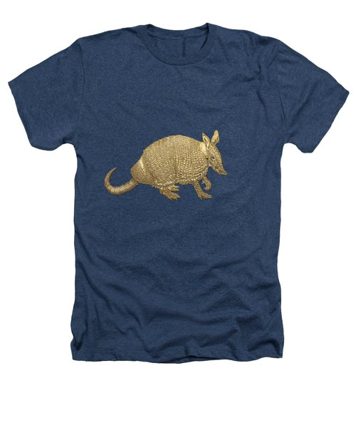 Gold Armadillo On Black Canvas Heathers T-Shirt by Serge Averbukh