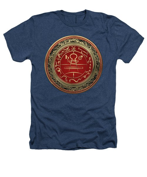 Gold Seal Of Solomon - Lesser Key Of Solomon On Black Velvet  Heathers T-Shirt