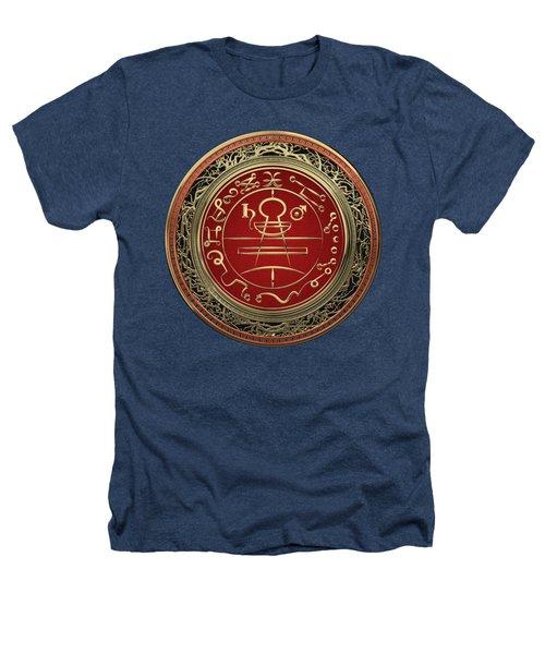 Gold Seal Of Solomon - Lesser Key Of Solomon On Black Velvet  Heathers T-Shirt
