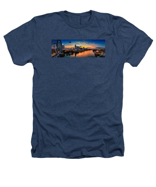 Nashville Skyline Panorama Heathers T-Shirt by Brett Engle