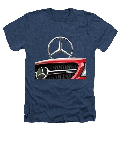 Red Mercedes - Front Grill Ornament And 3 D Badge On Black Heathers T-Shirt by Serge Averbukh
