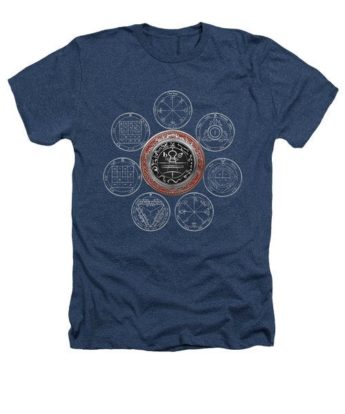 Silver Seal Of Solomon Over Seven Pentacles Of Saturn On Black Canvas  Heathers T-Shirt