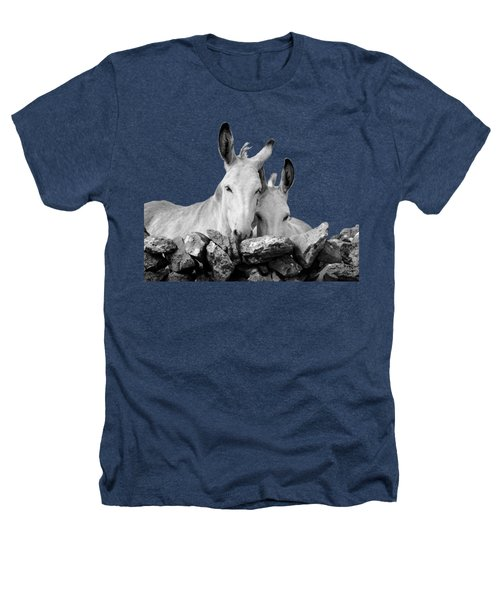 Two White Irish Donkeys Heathers T-Shirt by RicardMN Photography