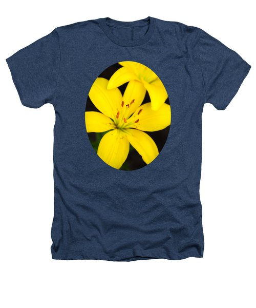 Yellow Lily Flower Heathers T-Shirt by Christina Rollo