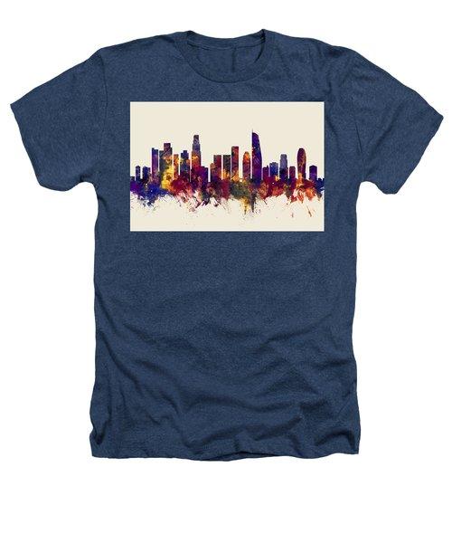 Los Angeles California Skyline Heathers T-Shirt by Michael Tompsett