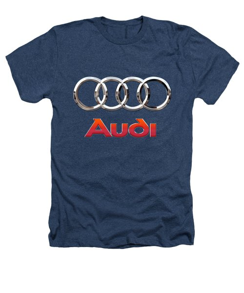 Audi - 3 D Badge On Black Heathers T-Shirt by Serge Averbukh