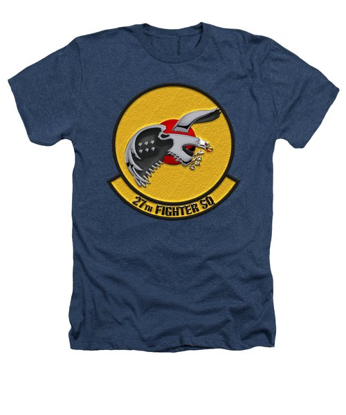27th Fighter Squadron - 27 Fs Over Blue Velvet Heathers T-Shirt by Serge Averbukh