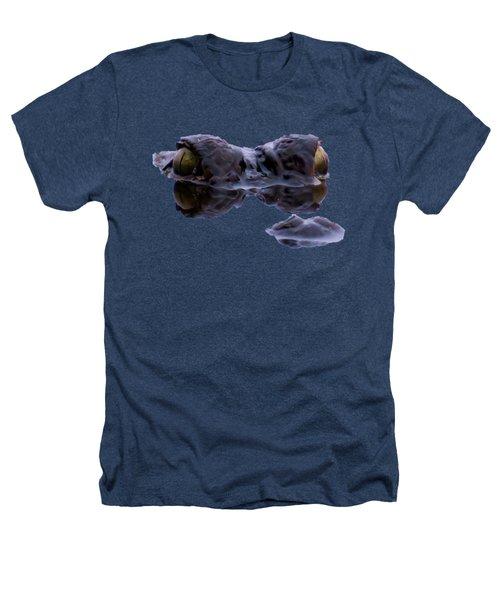 Alligator Eyes On The Foggy Lake Heathers T-Shirt by Zina Stromberg