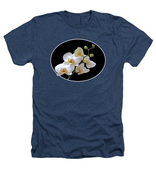 White Orchids On Black Heathers T-Shirt by Gill Billington