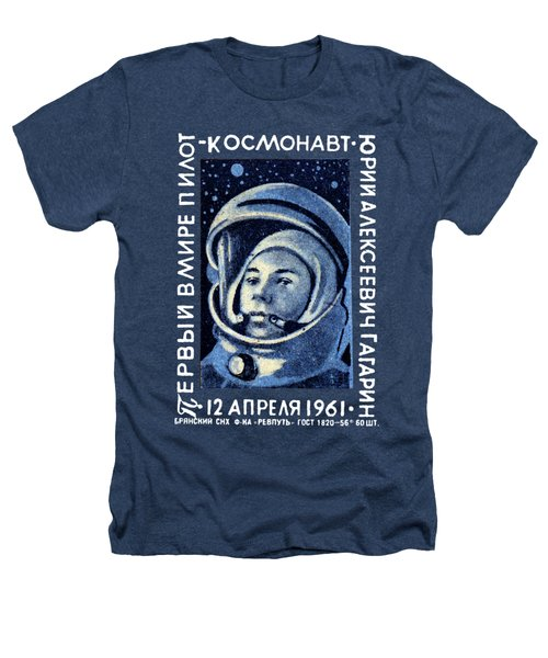 1961 First Man In Space, Yuri Gagarin Heathers T-Shirt by Historic Image