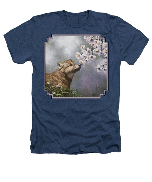 Wolf Pup - Baby Blossoms Heathers T-Shirt by Crista Forest