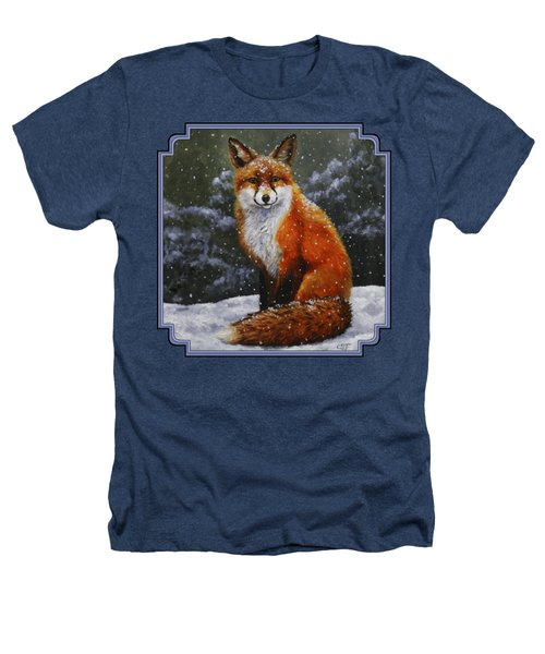 Snow Fox Heathers T-Shirt by Crista Forest