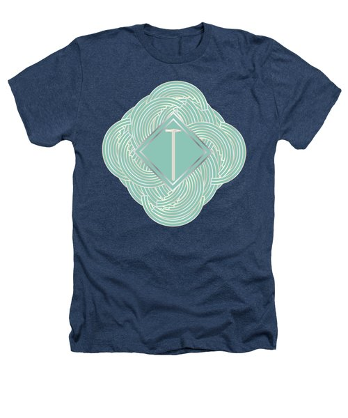 1920s Blue Deco Jazz Swing Monogram ...letter T Heathers T-Shirt