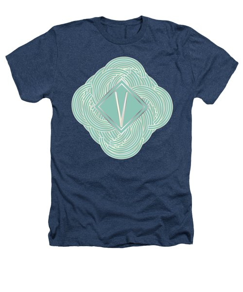 1920s Blue Deco Jazz Swing Monogram ...letter V Heathers T-Shirt by Cecely Bloom