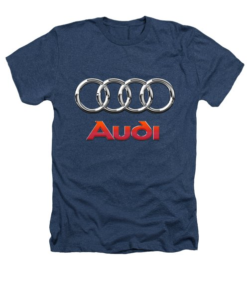 Audi 3 D Badge On Black Heathers T-Shirt by Serge Averbukh
