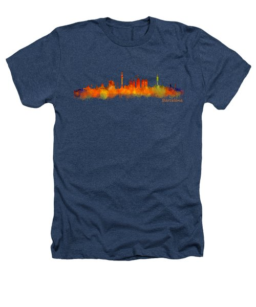Barcelona City Skyline Hq V2 Heathers T-Shirt by HQ Photo