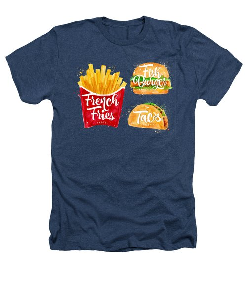 Black French Fries Heathers T-Shirt by Aloke Creative Store