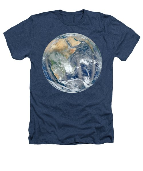 Blue Marble 2012 - Eastern Hemisphere Of Earth Heathers T-Shirt by Nikki Marie Smith