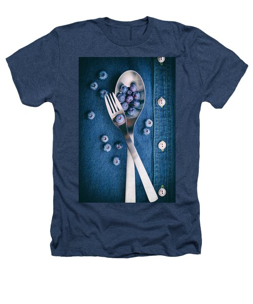 Blueberries On Denim II Heathers T-Shirt by Tom Mc Nemar