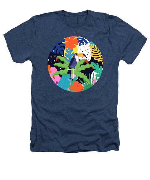 Bold Tropical Jungle Abstraction With Toucan Memphis Style Heathers T-Shirt
