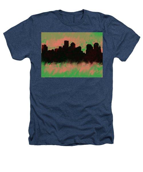 Boston Skyline Green  Heathers T-Shirt by Enki Art