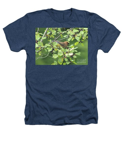 Cedar Waxwing Eating Berries Heathers T-Shirt by Maili Page
