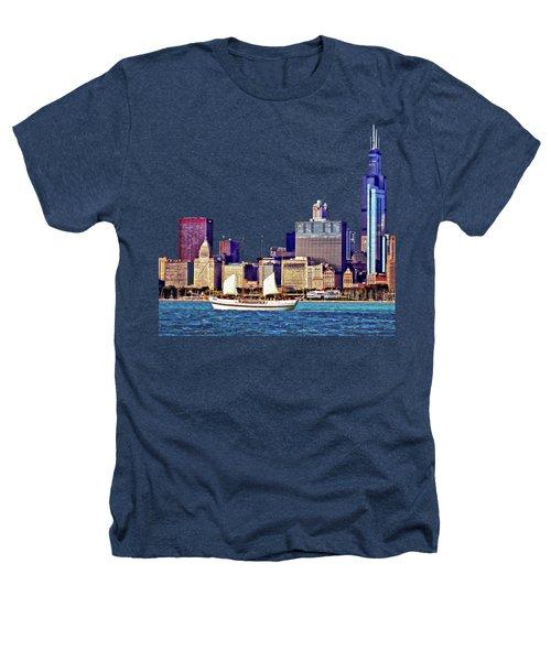 Chicago Il - Schooner Against Chicago Skyline Heathers T-Shirt