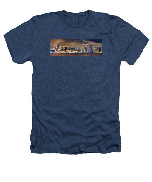 Chicago Skyline At Night Panorama Color 1 To 3 Ratio Heathers T-Shirt by Jon Holiday