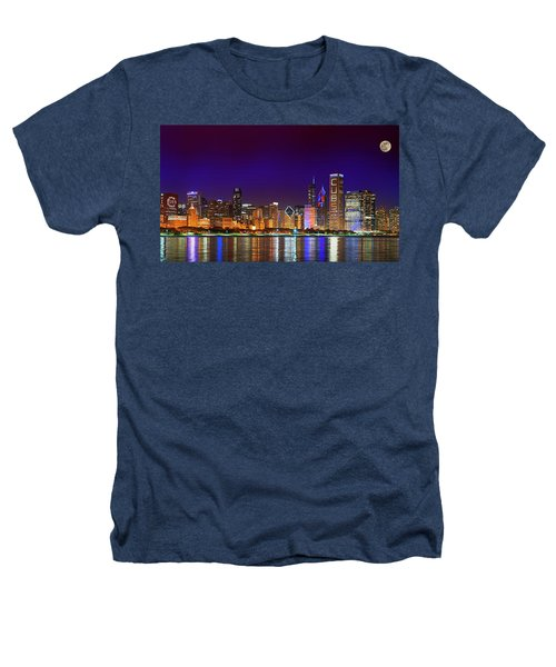 Chicago Skyline With Cubs World Series Lights Night, Moonrise, Lake Michigan, Chicago, Illinois Heathers T-Shirt