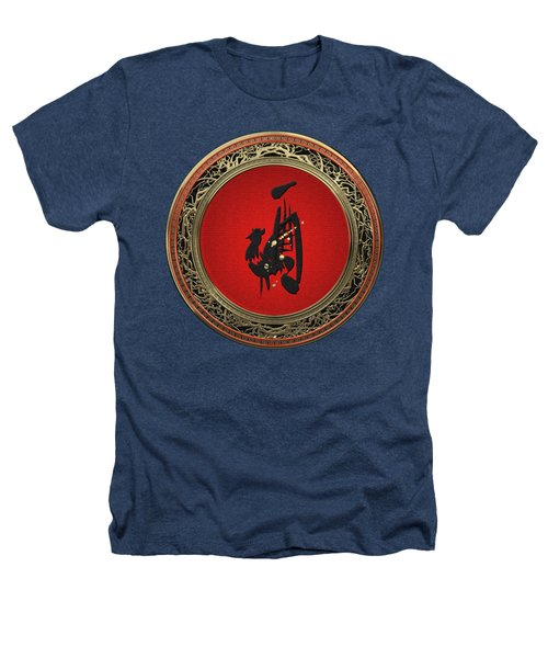 Chinese Zodiac - Year Of The Rooster On Black Velvet Heathers T-Shirt