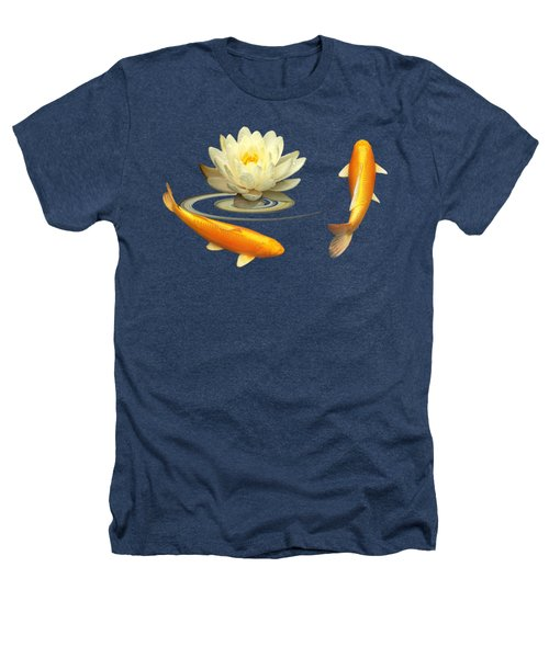 Circle Of Life - Koi Carp With Water Lily Heathers T-Shirt by Gill Billington