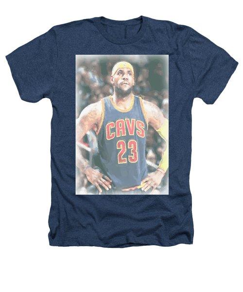 Cleveland Cavaliers Lebron James 5 Heathers T-Shirt by Joe Hamilton