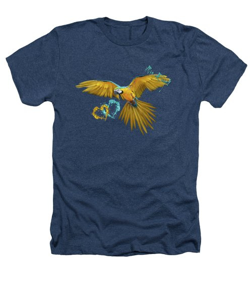 Colorful Blue And Yellow Macaw Heathers T-Shirt by iMia dEsigN