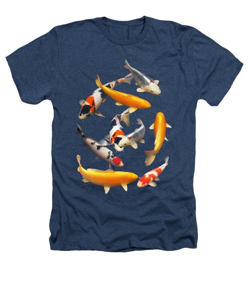Colorful Japanese Koi Vertical Heathers T-Shirt by Gill Billington