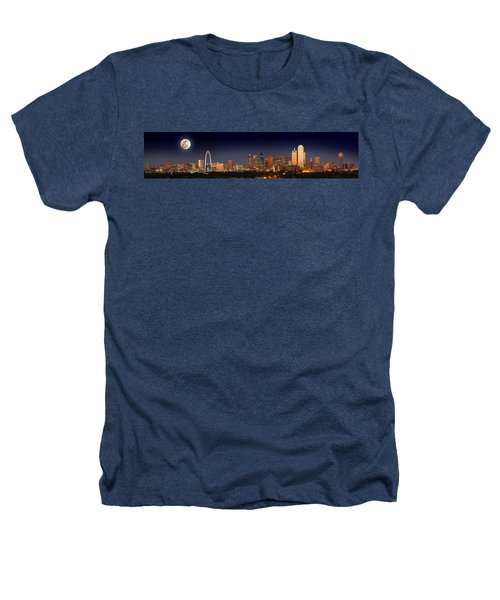 Dallas Skyline At Dusk Big Moon Night  Heathers T-Shirt