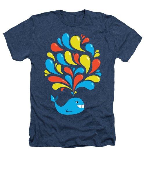 Dark Colorful Splash Happy Cartoon Whale Heathers T-Shirt by Boriana Giormova