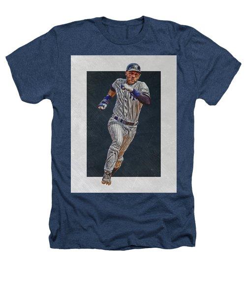 Derek Jeter New York Yankees Art 3 Heathers T-Shirt by Joe Hamilton